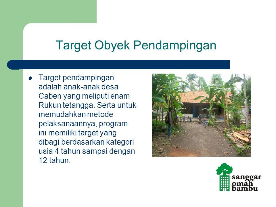 Target Obyek Pendampingan Target pendampingan adalah anak-anak desa Caben yang meliputi enam Rukun tetangga. Serta untuk memudahkan metode pelaksanaan