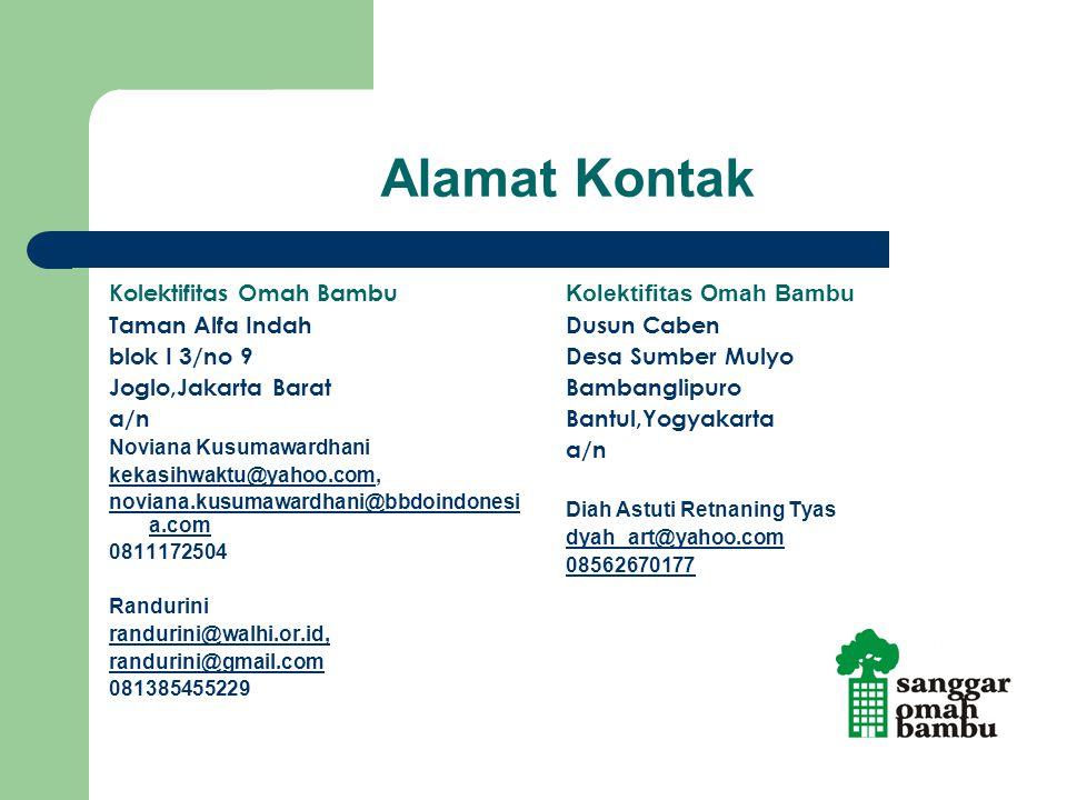 Alamat Kontak Kolektifitas Omah Bambu Taman Alfa Indah blok I 3/no 9 Joglo,Jakarta Barat a/n Noviana Kusumawardhani kekasihwaktu@yahoo.comkekasihwaktu