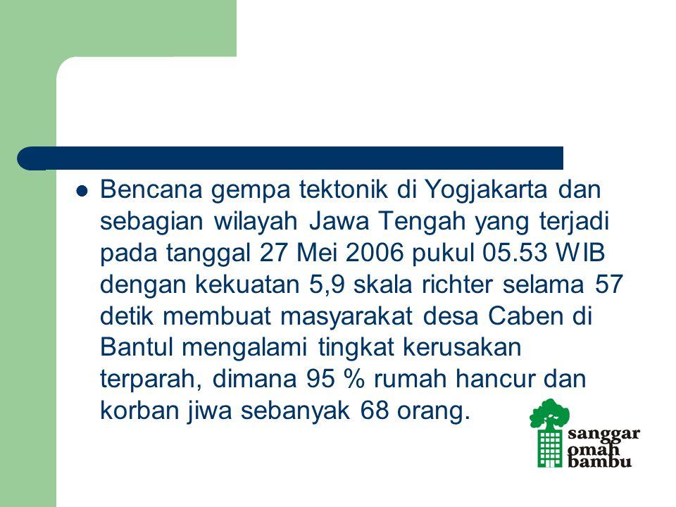 Bencana gempa tektonik di Yogjakarta dan sebagian wilayah Jawa Tengah yang terjadi pada tanggal 27 Mei 2006 pukul 05.53 WIB dengan kekuatan 5,9 skala