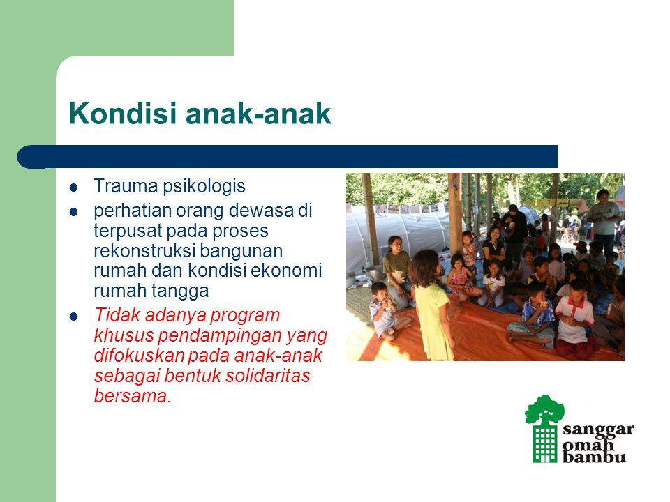 Kondisi anak-anak Trauma psikologis perhatian orang dewasa di terpusat pada proses rekonstruksi bangunan rumah dan kondisi ekonomi rumah tangga Tidak