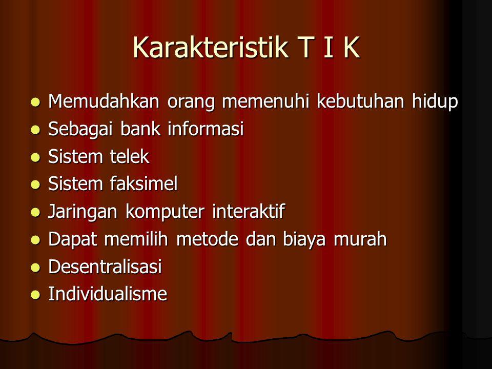 Karakteristik T I K Memudahkan orang memenuhi kebutuhan hidup Memudahkan orang memenuhi kebutuhan hidup Sebagai bank informasi Sebagai bank informasi
