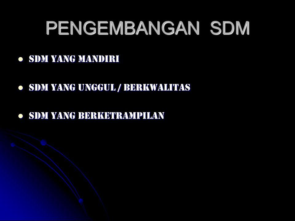 PENGEMBANGAN SDM SDM yang mandiri SDM yang mandiri SDM yang unggul / berkwalitas SDM yang unggul / berkwalitas SDM yang berketrampilan SDM yang berket