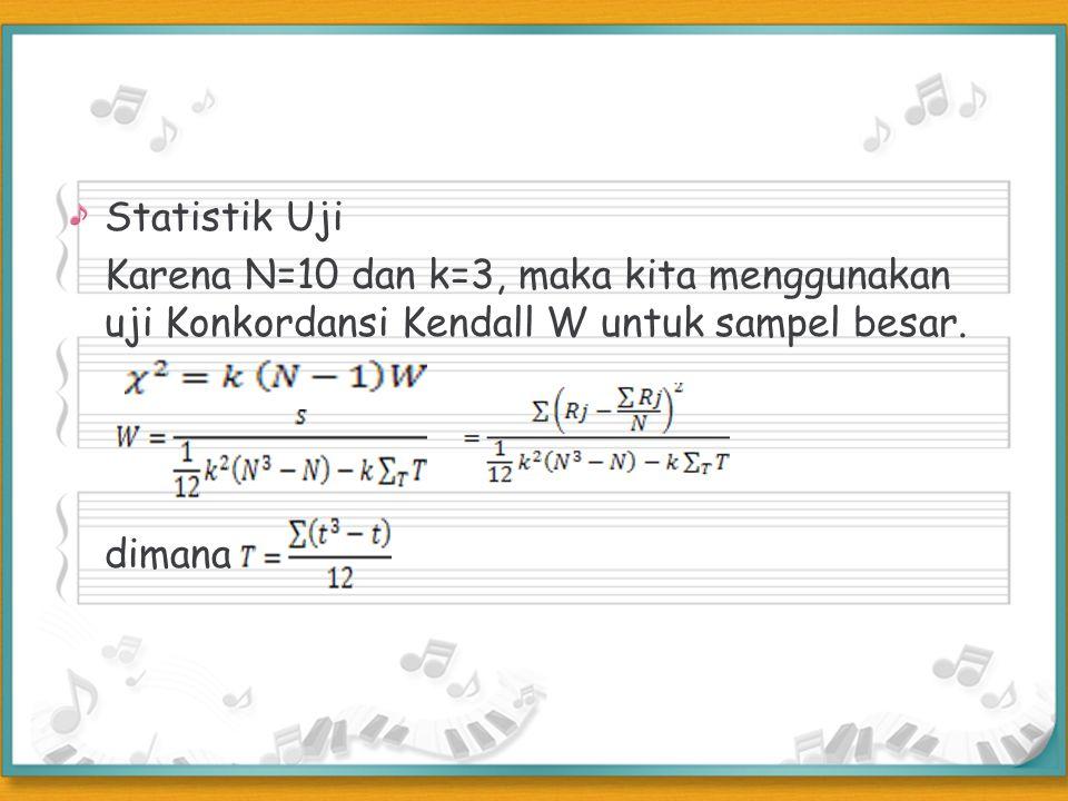Statistik Uji Karena N=10 dan k=3, maka kita menggunakan uji Konkordansi Kendall W untuk sampel besar. dimana
