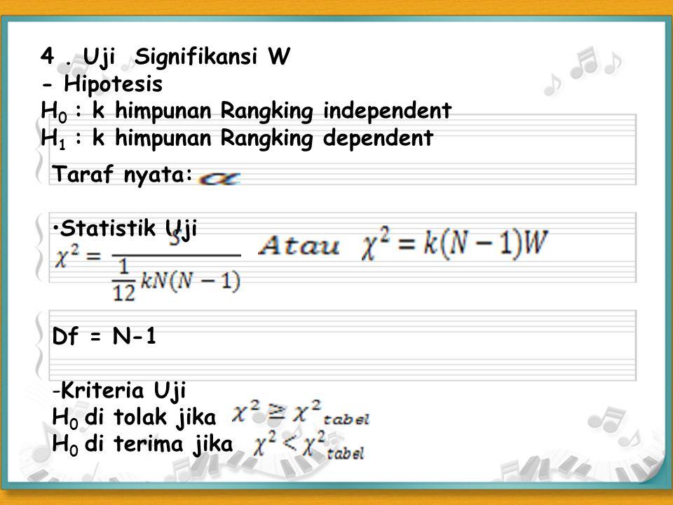 4. Uji Signifikansi W - Hipotesis H 0 : k himpunan Rangking independent H 1 : k himpunan Rangking dependent Taraf nyata: Statistik Uji Df = N-1 -Krite
