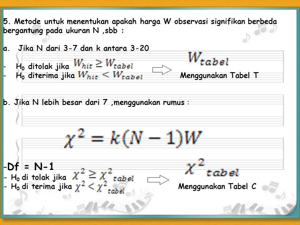 5. Metode untuk menentukan apakah harga W observasi signifikan berbeda bergantung pada ukuran N,sbb : a.Jika N dari 3-7 dan k antara 3-20 - H 0 ditola