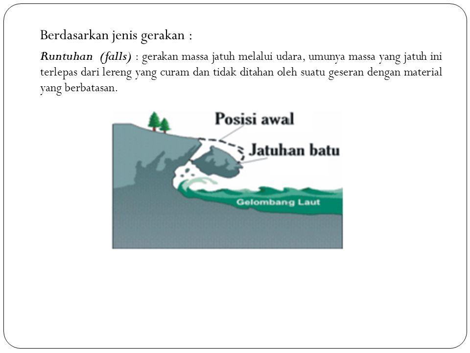 Berdasarkan jenis gerakan : Runtuhan (falls) : gerakan massa jatuh melalui udara, umunya massa yang jatuh ini terlepas dari lereng yang curam dan tida