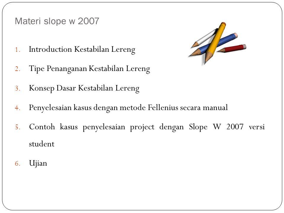 Materi slope w 2007 1. Introduction Kestabilan Lereng 2. Tipe Penanganan Kestabilan Lereng 3. Konsep Dasar Kestabilan Lereng 4. Penyelesaian kasus den