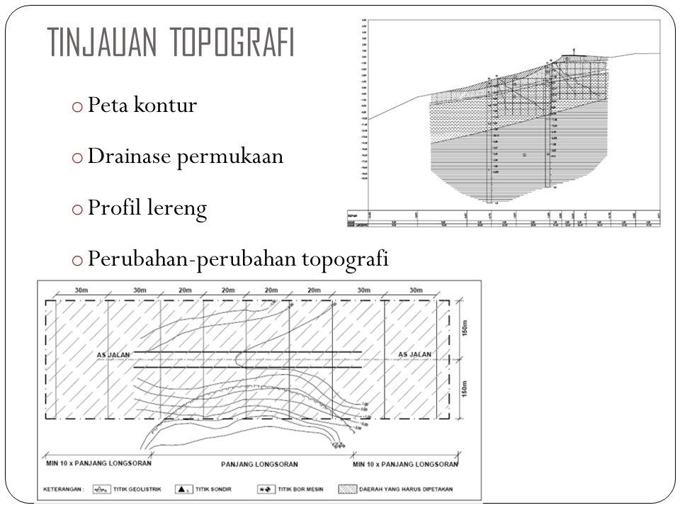 TINJAUAN TOPOGRAFI o Peta kontur o Drainase permukaan o Profil lereng o Perubahan-perubahan topografi