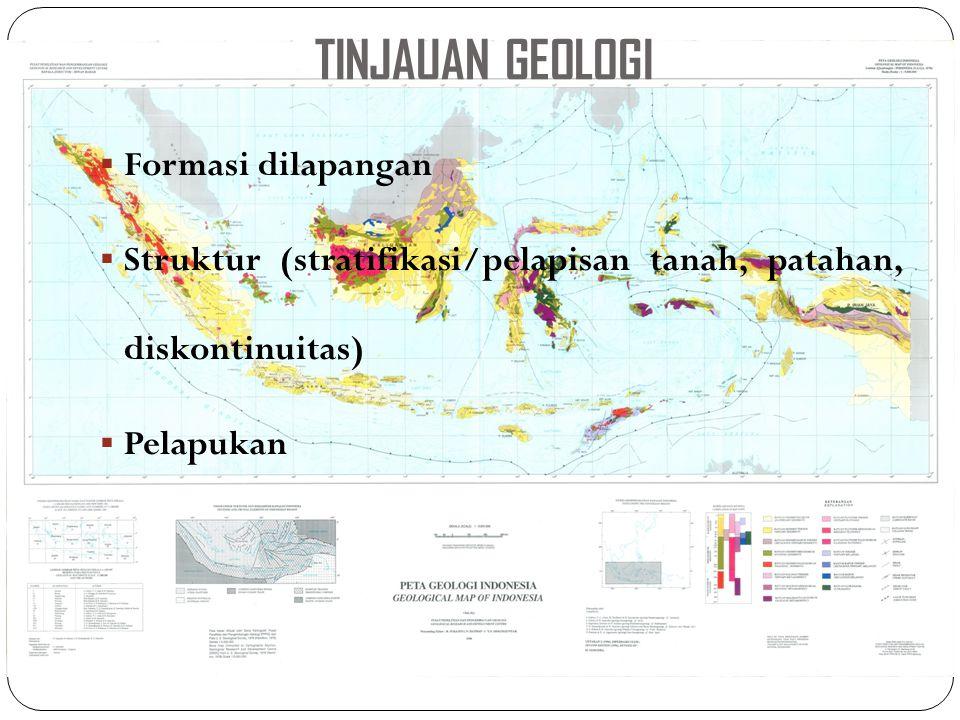 TINJAUAN GEOLOGI  Formasi dilapangan  Struktur (stratifikasi/pelapisan tanah, patahan, diskontinuitas)  Pelapukan