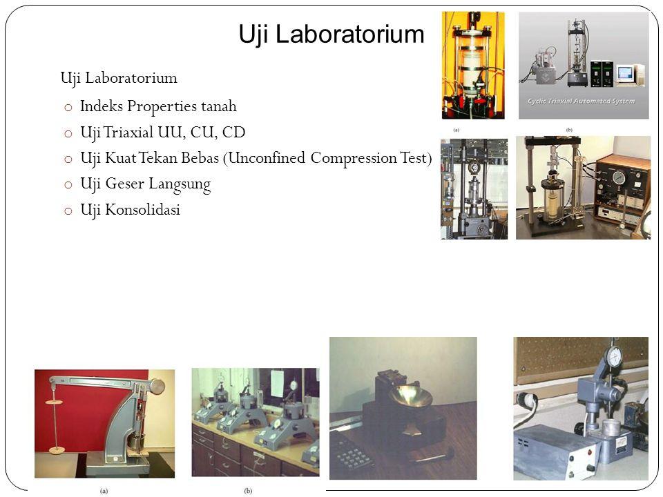 Uji Laboratorium o Indeks Properties tanah o Uji Triaxial UU, CU, CD o Uji Kuat Tekan Bebas (Unconfined Compression Test) o Uji Geser Langsung o Uji K