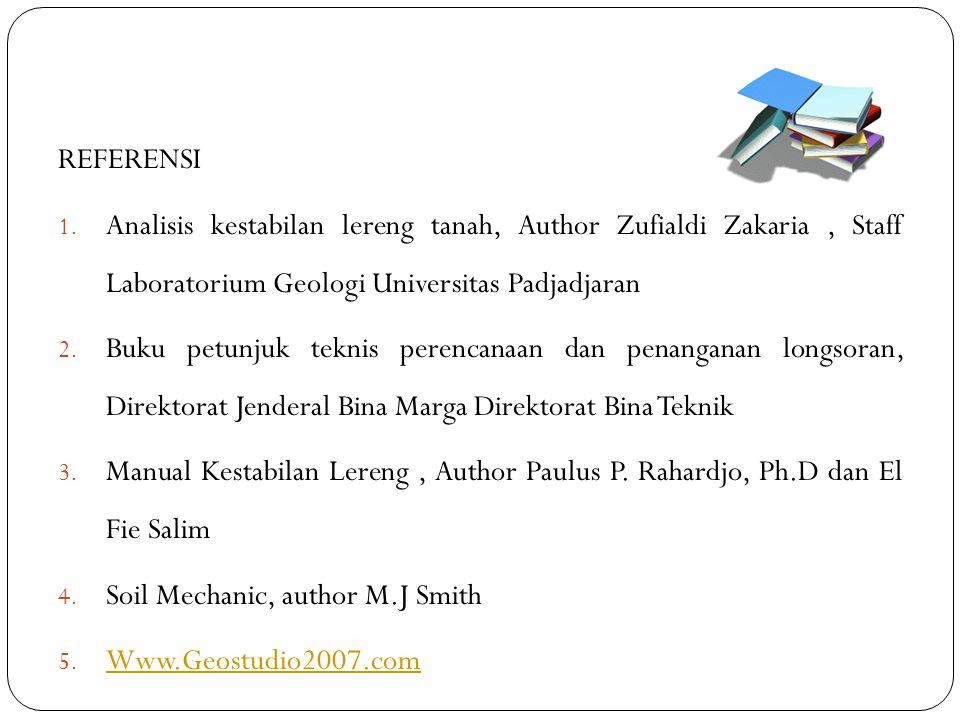 REFERENSI 1. Analisis kestabilan lereng tanah, Author Zufialdi Zakaria, Staff Laboratorium Geologi Universitas Padjadjaran 2. Buku petunjuk teknis per