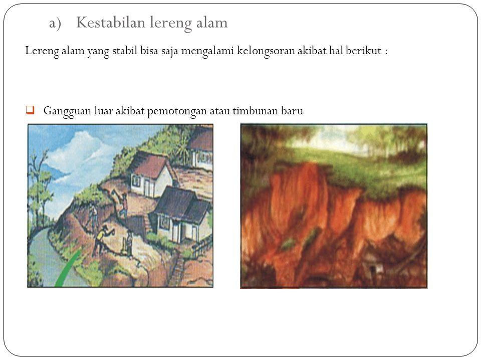 a)Kestabilan lereng alam Lereng alam yang stabil bisa saja mengalami kelongsoran akibat hal berikut :  Gangguan luar akibat pemotongan atau timbunan