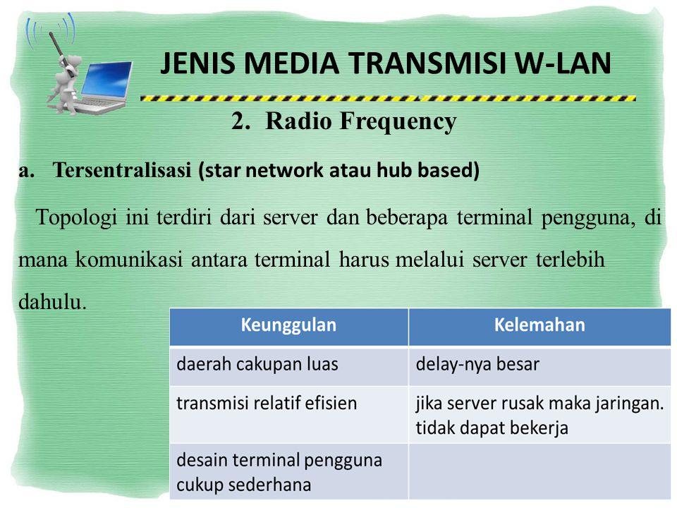 JENIS MEDIA TRANSMISI W-LAN 2.Radio Frequency a.Tersentralisasi (star network atau hub based) Topologi ini terdiri dari server dan beberapa terminal p
