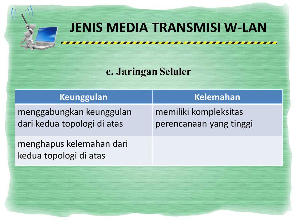 JENIS MEDIA TRANSMISI W-LAN c. Jaringan Seluler
