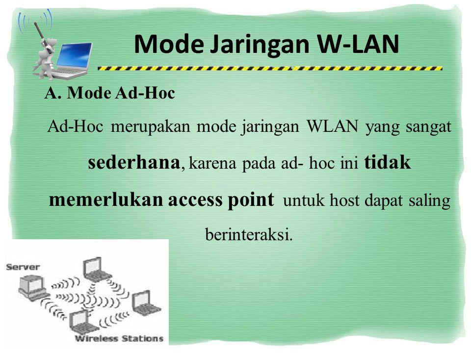 Mode Jaringan W-LAN A. Mode Ad-Hoc merupakan mode jaringan WLAN yang sangat sederhana, karena pada ad- hoc ini tidak memerlukan access point untuk hos