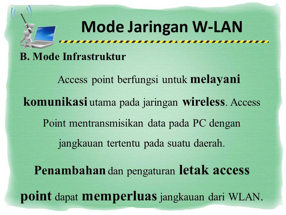 Mode Jaringan W-LAN B. Mode Infrastruktur Access point berfungsi untuk melayani komunikasi utama pada jaringan wireless. Access Point mentransmisikan