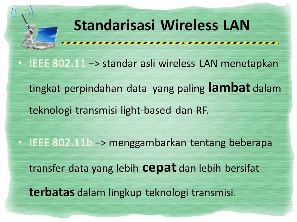 Standarisasi Wireless LAN IEEE 802.11 –> standar asli wireless LAN menetapkan tingkat perpindahan data yang paling lambat dalam teknologi transmisi li