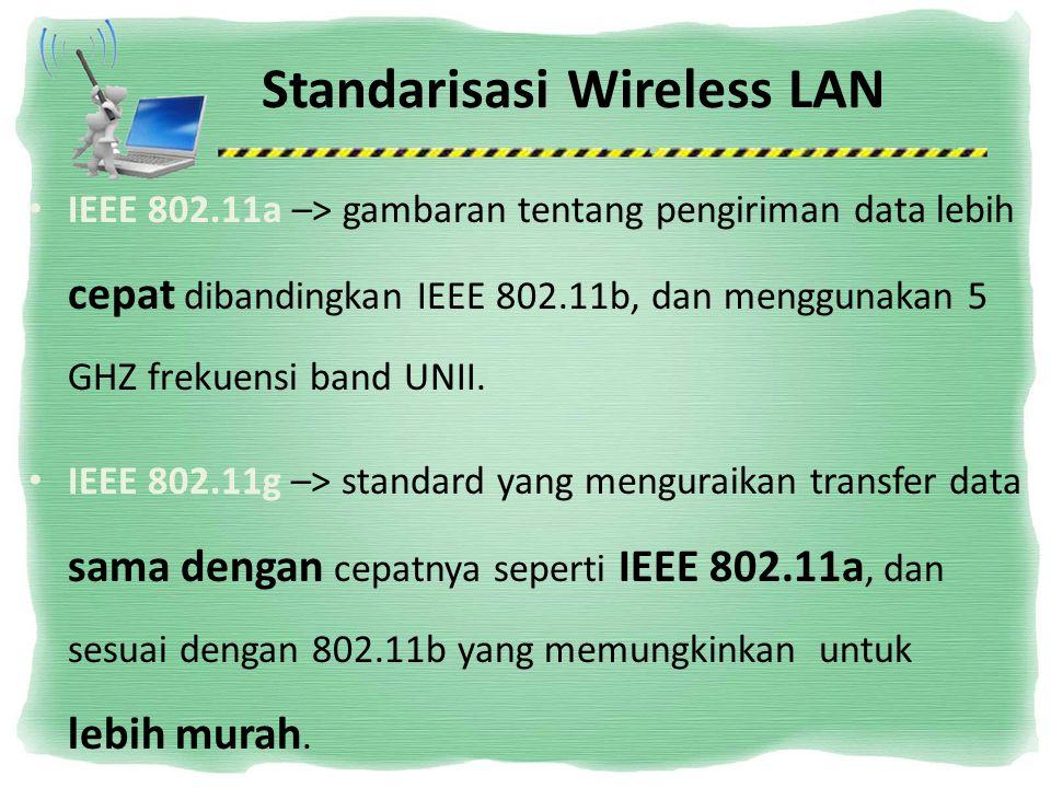 Standarisasi Wireless LAN IEEE 802.11a –> gambaran tentang pengiriman data lebih cepat dibandingkan IEEE 802.11b, dan menggunakan 5 GHZ frekuensi band