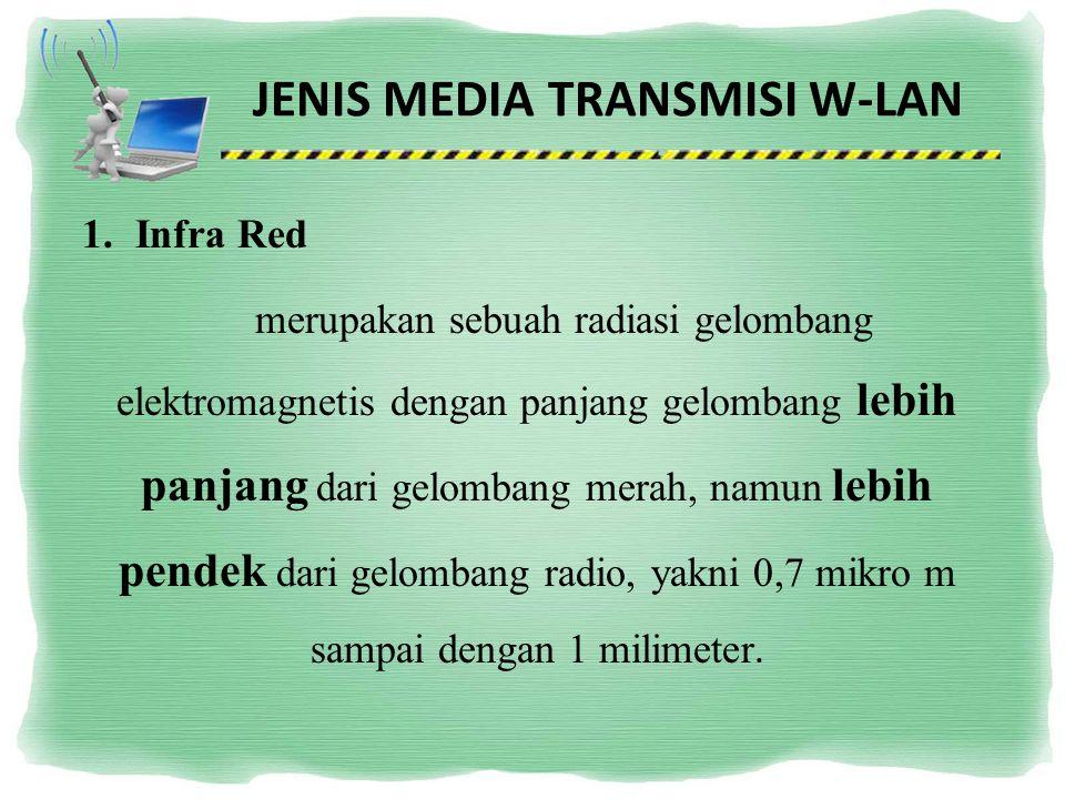 JENIS MEDIA TRANSMISI W-LAN 1.Infra Red merupakan sebuah radiasi gelombang elektromagnetis dengan panjang gelombang lebih panjang dari gelombang merah