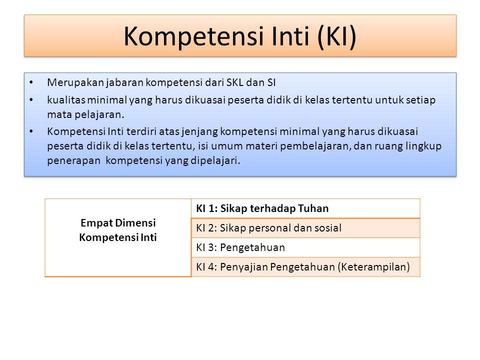 Kompetensi Inti (KI) Merupakan jabaran kompetensi dari SKL dan SI kualitas minimal yang harus dikuasai peserta didik di kelas tertentu untuk setiap mata pelajaran.