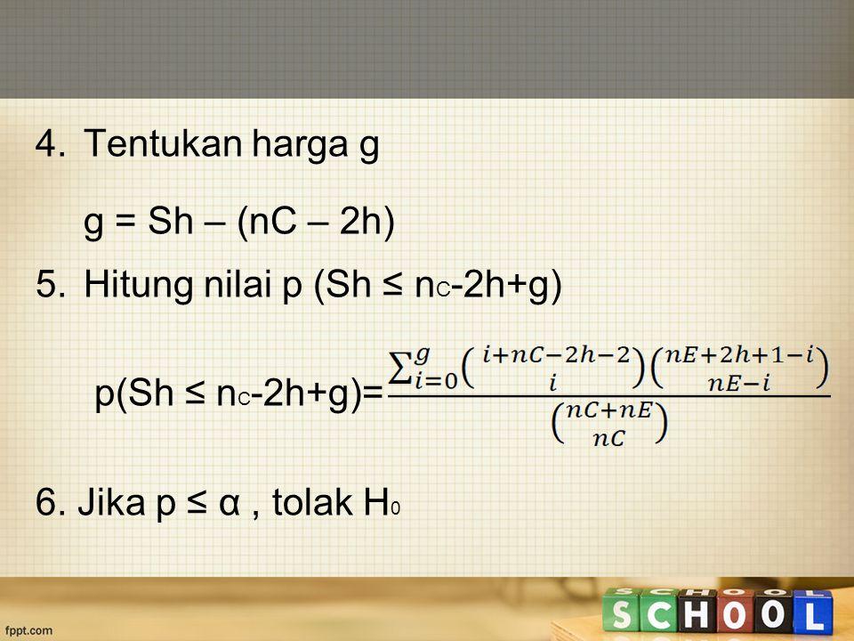 4. Tentukan harga g g = Sh – (nC – 2h) 5.Hitung nilai p (Sh ≤ n C -2h+g) p(Sh ≤ n C -2h+g)= 6. Jika p ≤ α, tolak H 0
