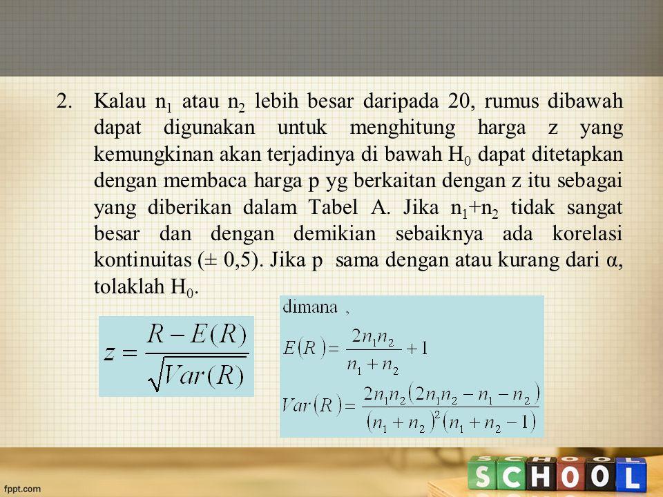 2. Kalau n 1 atau n 2 lebih besar daripada 20, rumus dibawah dapat digunakan untuk menghitung harga z yang kemungkinan akan terjadinya di bawah H 0 da