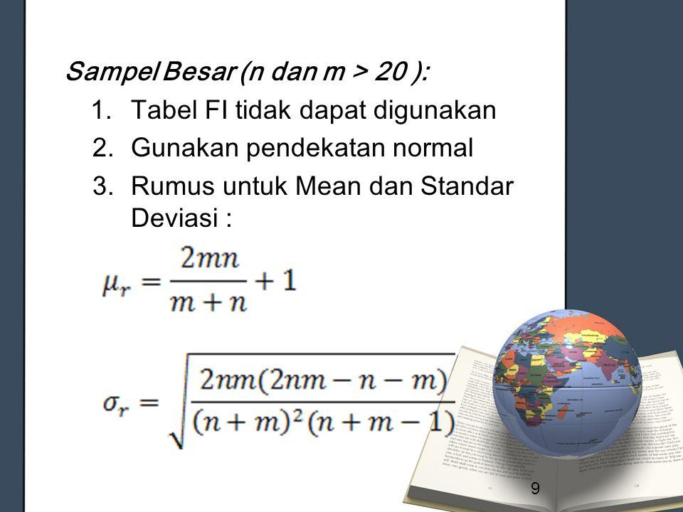 Sampel Besar (n dan m > 20 ): 1.Tabel FI tidak dapat digunakan 2.Gunakan pendekatan normal 3.Rumus untuk Mean dan Standar Deviasi : 9