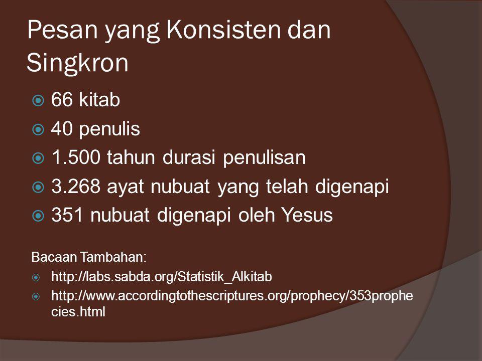 Pesan yang Konsisten dan Singkron  66 kitab  40 penulis  1.500 tahun durasi penulisan  3.268 ayat nubuat yang telah digenapi  351 nubuat digenapi