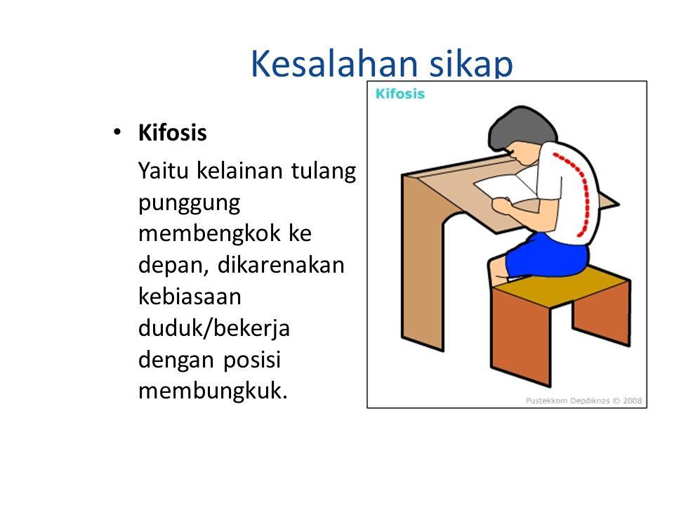 Kesalahan sikap Kifosis Yaitu kelainan tulang punggung membengkok ke depan, dikarenakan kebiasaan duduk/bekerja dengan posisi membungkuk.