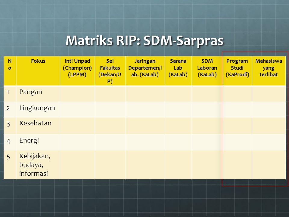 Matriks RIP: SDM-Sarpras NoNo FokusInti Unpad (Champion) (LPPM) Sel Fakultas (Dekan/U P) Jaringan Departemen/l ab. (KaLab) Sarana Lab (KaLab) SDM Labo