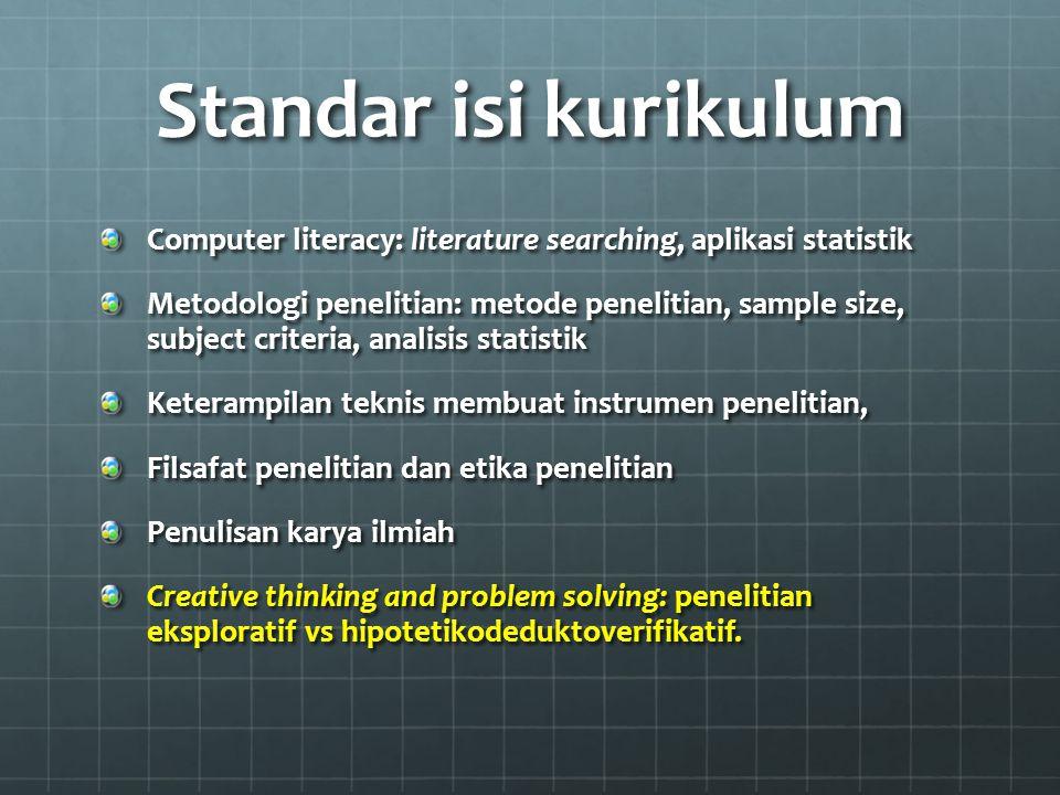 Standar isi kurikulum Computer literacy: literature searching, aplikasi statistik Metodologi penelitian: metode penelitian, sample size, subject crite