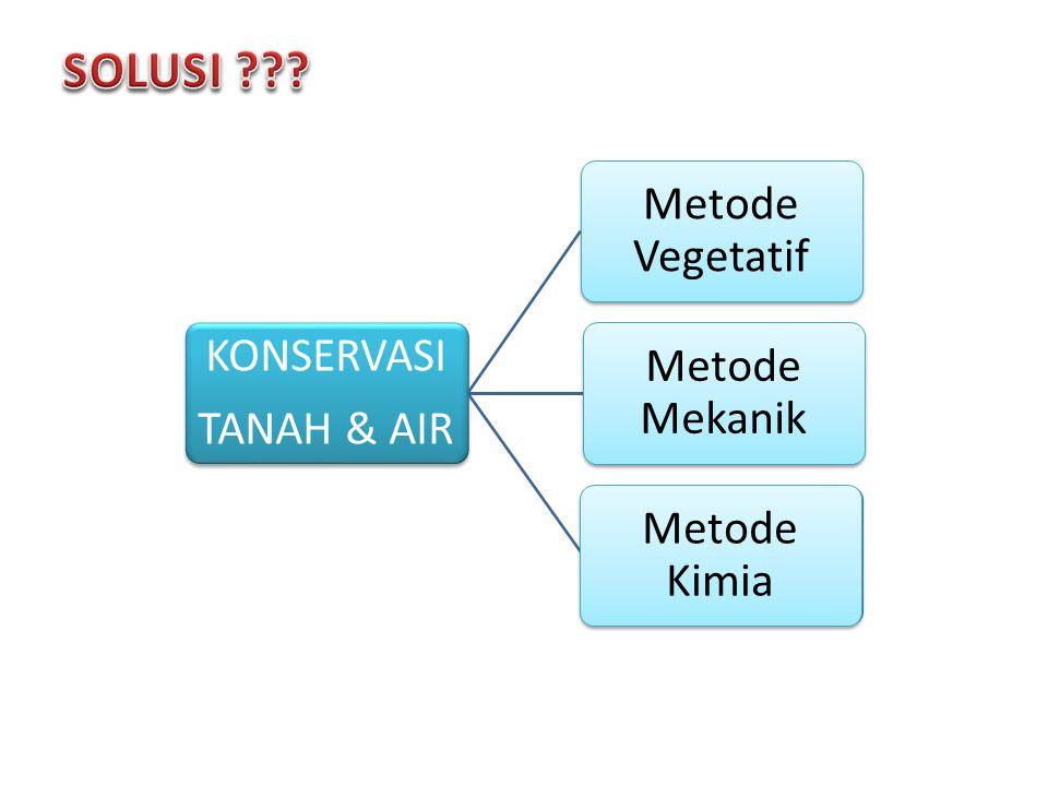KONSERVASI TANAH & AIR Metode Vegetatif Metode Mekanik Metode Kimia