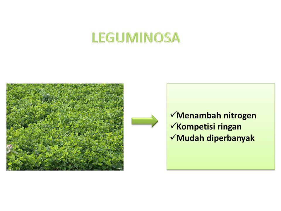 Menambah nitrogen Kompetisi ringan Mudah diperbanyak Menambah nitrogen Kompetisi ringan Mudah diperbanyak