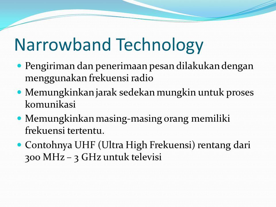 Narrowband Technology Pengiriman dan penerimaan pesan dilakukan dengan menggunakan frekuensi radio Memungkinkan jarak sedekan mungkin untuk proses kom