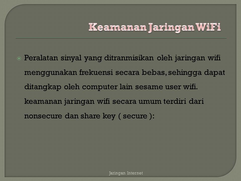  non secure: computer yang mempunyai wifi dapat menangkap transmisi pancaran dari sebuah wifi dan langsung dapat masuk kedalam jaringan tersebut Jaringan Internet