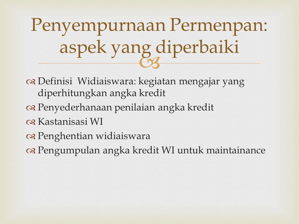   Definisi Widiaiswara: kegiatan mengajar yang diperhitungkan angka kredit  Penyederhanaan penilaian angka kredit  Kastanisasi WI  Penghentian widiaiswara  Pengumpulan angka kredit WI untuk maintainance Penyempurnaan Permenpan: aspek yang diperbaiki
