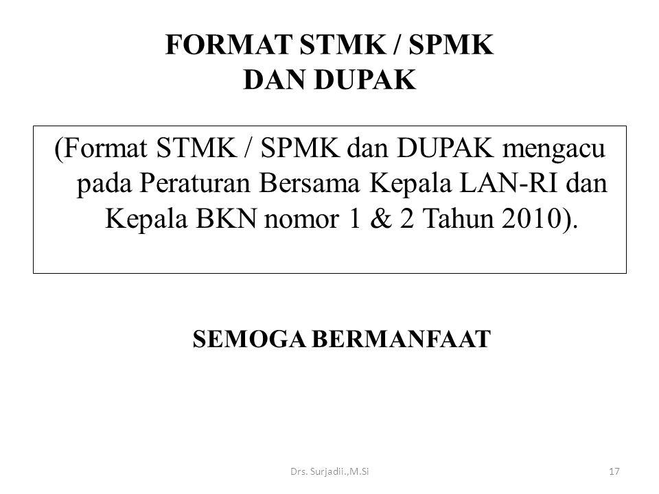 FORMAT STMK / SPMK DAN DUPAK (Format STMK / SPMK dan DUPAK mengacu pada Peraturan Bersama Kepala LAN-RI dan Kepala BKN nomor 1 & 2 Tahun 2010). SEMOGA