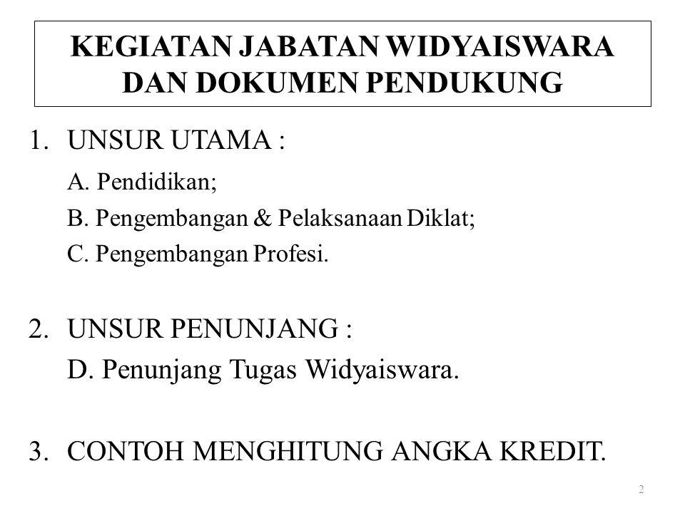 KEGIATAN JABATAN WIDYAISWARA DAN DOKUMEN PENDUKUNG 1.UNSUR UTAMA : A. Pendidikan; B. Pengembangan & Pelaksanaan Diklat; C. Pengembangan Profesi. 2.UNS
