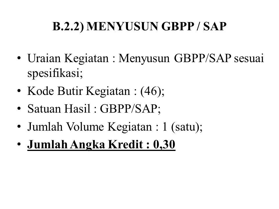 B.2.2) MENYUSUN GBPP / SAP Uraian Kegiatan : Menyusun GBPP/SAP sesuai spesifikasi; Kode Butir Kegiatan : (46); Satuan Hasil : GBPP/SAP; Jumlah Volume