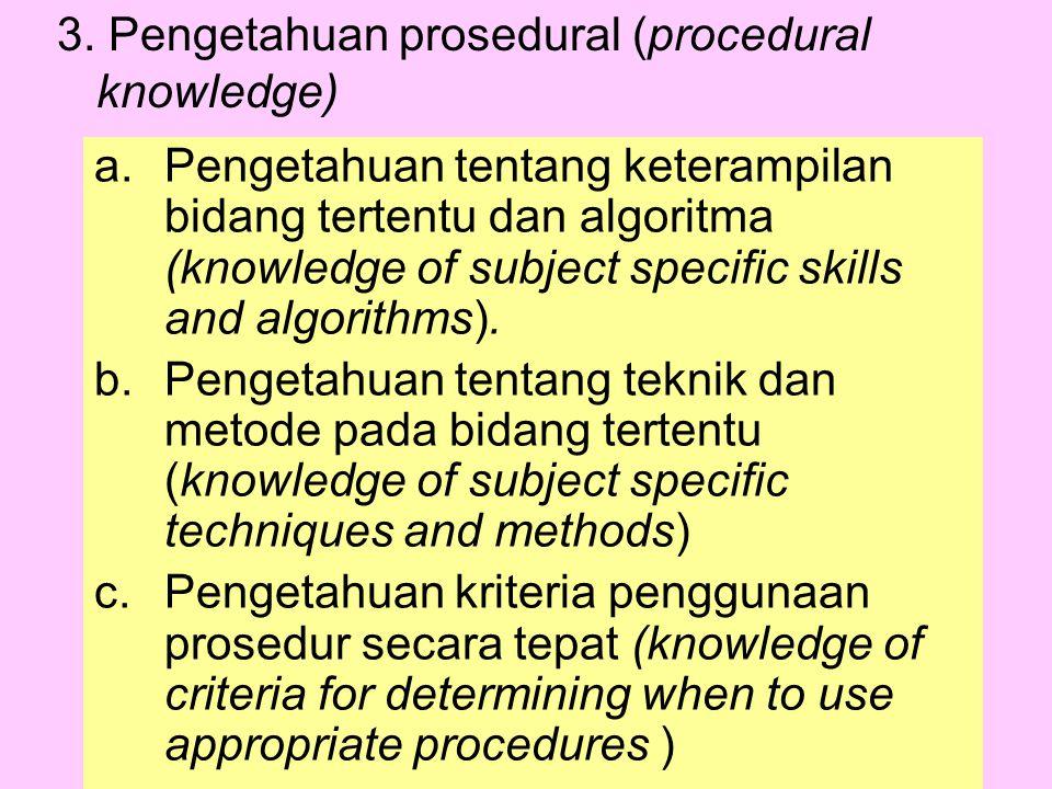 3. Pengetahuan prosedural (procedural knowledge) a.Pengetahuan tentang keterampilan bidang tertentu dan algoritma (knowledge of subject specific skill