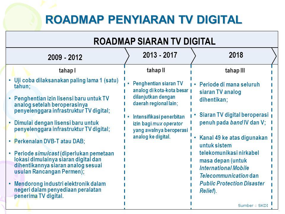 ROADMAP PENYIARAN TV DIGITAL ROADMAP SIARAN TV DIGITAL 2009 - 2012 2013 - 2017 tahap I 2018 tahap II tahap III Uji coba dilaksanakan paling lama 1 (satu) tahun; Penghentian izin lisensi baru untuk TV analog setelah beroperasinya penyelenggara infrastruktur TV digital; Dimulai dengan lisensi baru untuk penyelenggara infrastruktur TV digital; Perkenalan DVB-T atau DAB; Periode simulcast (diperlukan pemetaan lokasi dimulainya siaran digital dan dihentikannya siaran analog sesuai usulan Rancangan Permen); Mendorong industri elektronik dalam negeri dalam penyediaan peralatan penerima TV digital.