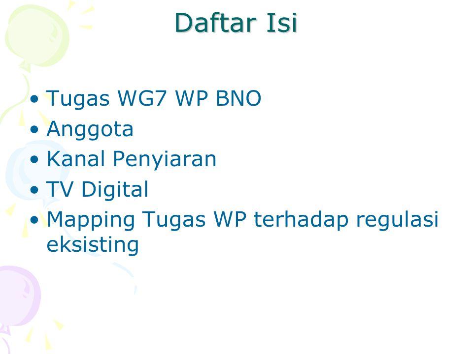 Action Plan Presentasi dan diskusi dengan nara sumber Koordinasi dengan WG 1 Licensing WP BNO Quesioner Draft regulasi