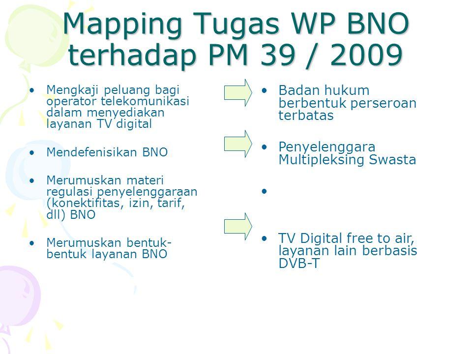 Mapping Tugas WP BNO terhadap PM 39 / 2009 Mengkaji peluang bagi operator telekomunikasi dalam menyediakan layanan TV digital Mendefenisikan BNO Merumuskan materi regulasi penyelenggaraan (konektifitas, izin, tarif, dll) BNO Merumuskan bentuk- bentuk layanan BNO Badan hukum berbentuk perseroan terbatas Penyelenggara Multipleksing Swasta TV Digital free to air, layanan lain berbasis DVB-T