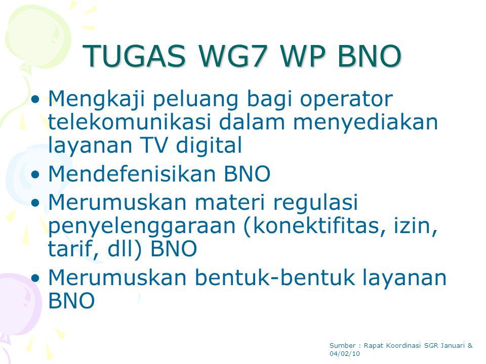 TUGAS WG7 WP BNO Mengkaji peluang bagi operator telekomunikasi dalam menyediakan layanan TV digital Mendefenisikan BNO Merumuskan materi regulasi penyelenggaraan (konektifitas, izin, tarif, dll) BNO Merumuskan bentuk-bentuk layanan BNO Sumber : Rapat Koordinasi SGR Januari & 04/02/10