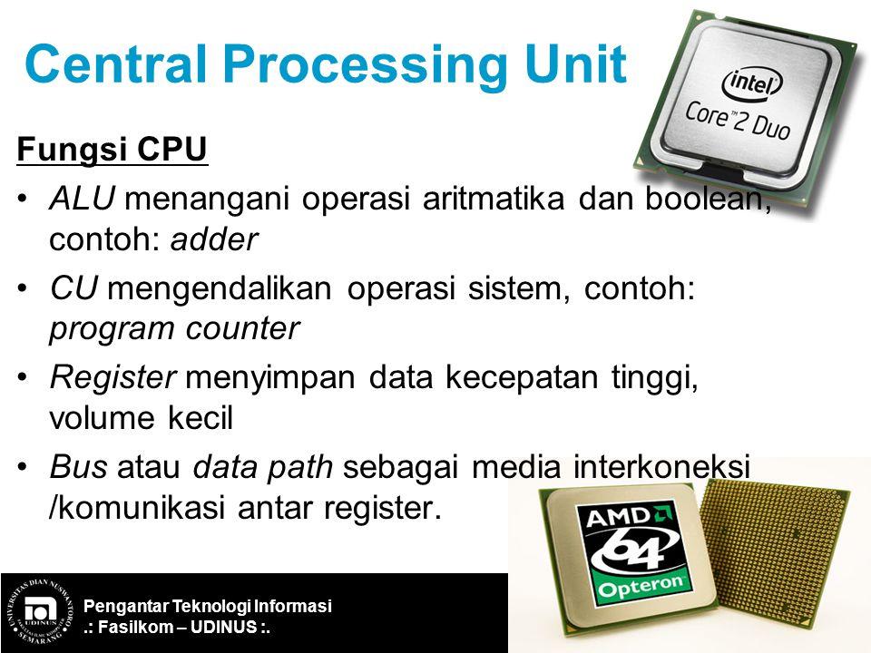 Pengantar Teknologi Informasi.: Fasilkom – UDINUS :. Ref: IF-ITB/Santika WP/2003 15 Central Processing Unit Fungsi CPU ALU menangani operasi aritmatik