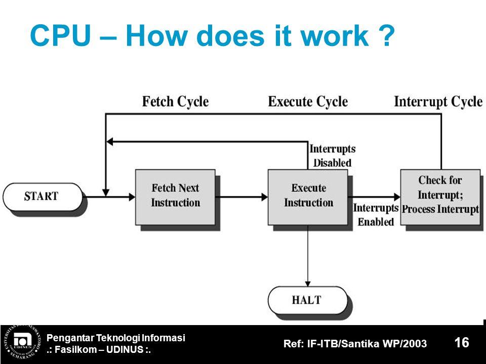 Pengantar Teknologi Informasi.: Fasilkom – UDINUS :. Ref: IF-ITB/Santika WP/2003 16 CPU – How does it work ?