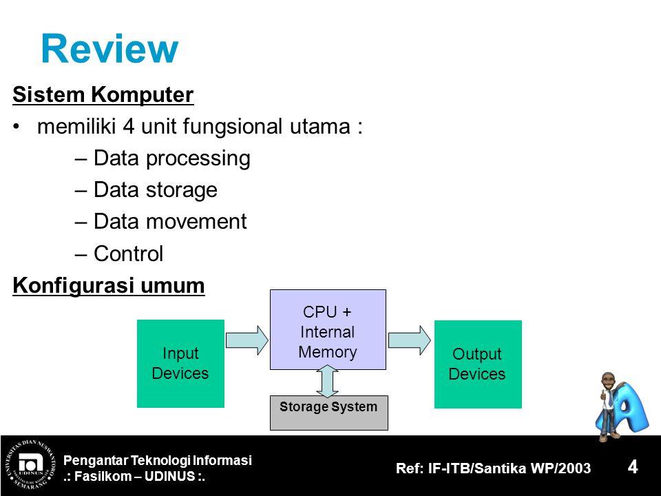 Pengantar Teknologi Informasi.: Fasilkom – UDINUS :. Ref: IF-ITB/Santika WP/2003 4 Review Sistem Komputer memiliki 4 unit fungsional utama : – Data pr