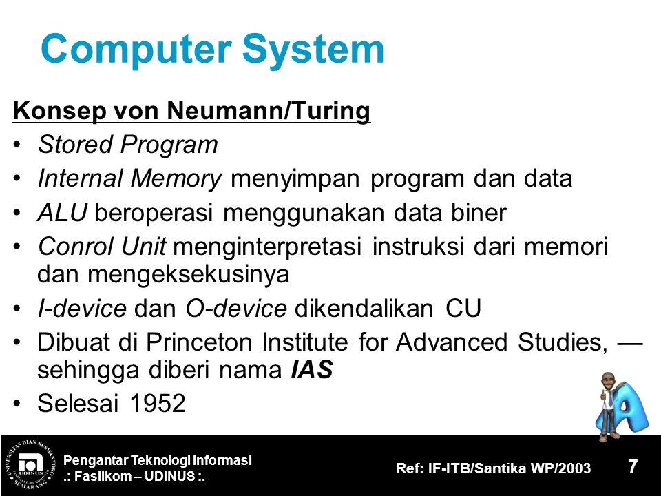Pengantar Teknologi Informasi.: Fasilkom – UDINUS :. Ref: IF-ITB/Santika WP/2003 7 Computer System Konsep von Neumann/Turing Stored Program Internal M