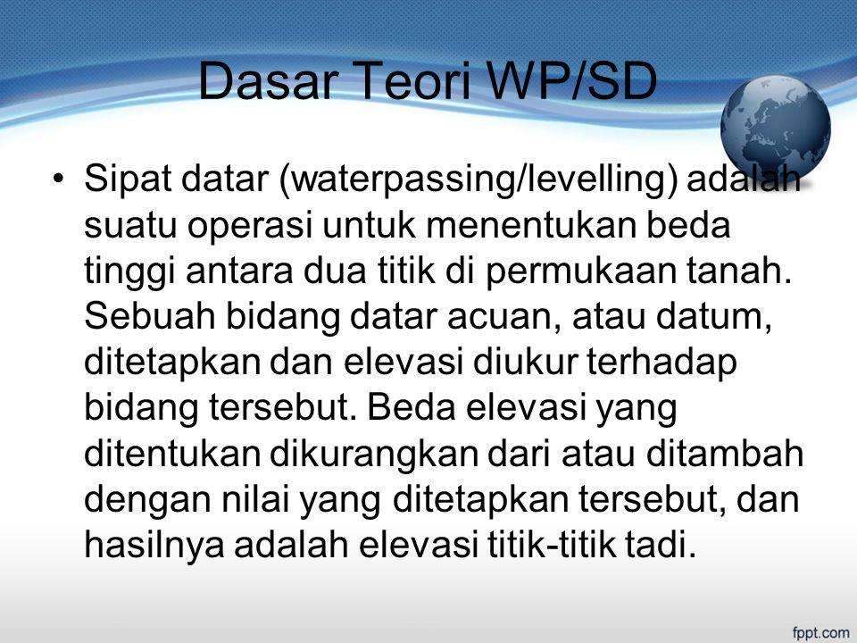 Dasar Teori WP/SD Sipat datar (waterpassing/levelling) adalah suatu operasi untuk menentukan beda tinggi antara dua titik di permukaan tanah.