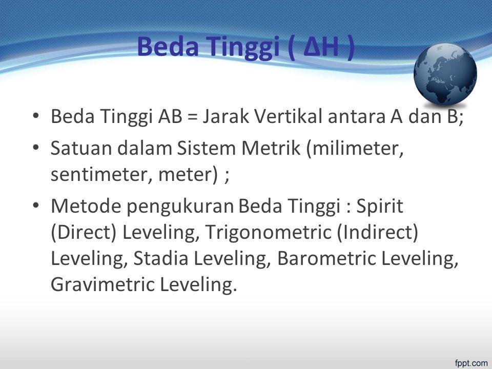 Beda Tinggi ( ΔH ) Beda Tinggi AB = Jarak Vertikal antara A dan B; Satuan dalam Sistem Metrik (milimeter, sentimeter, meter) ; Metode pengukuran Beda Tinggi : Spirit (Direct) Leveling, Trigonometric (Indirect) Leveling, Stadia Leveling, Barometric Leveling, Gravimetric Leveling.